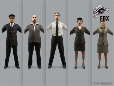 AIRPORT PEOPLE- 5 RIGGED 3D FBX MODELS (MeApFBX001a)