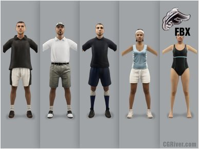 ATHLETE (SPORTS)- 5 RIGGED 3D FBX MODELS (MeSpFBX002a)