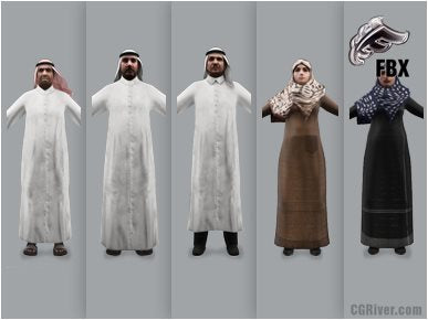 ARAB PEOPLE- 5 RIGGED 3D FBX MODELS (MeArFBX001a)
