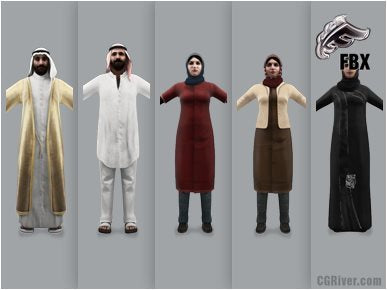ARAB PEOPLE- 5 RIGGED 3D FBX MODELS (MeArFBX001b)