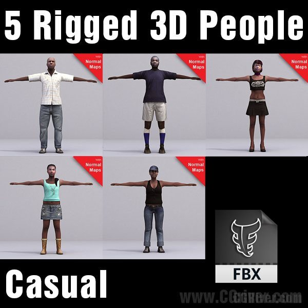 CASUAL PEOPLE- 5 RIGGED 3D FBX MODELS (MeCaFBX006b)