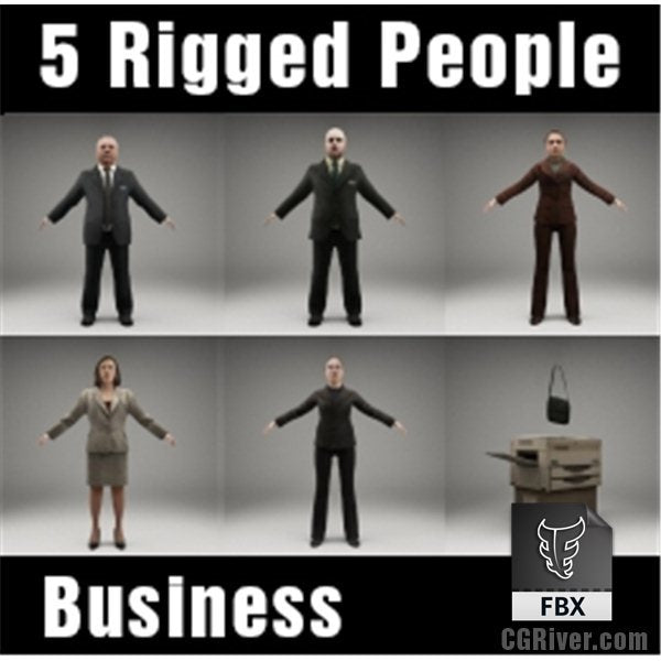 BUSINESS PEOPLE- 5 RIGGED 3D FBX MODELS (MeBuFBX003b)