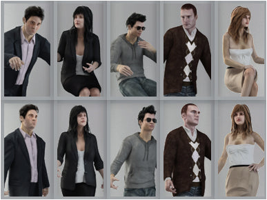 Business People- 5 3D Models with 10 Poses (MeMsS001M3)