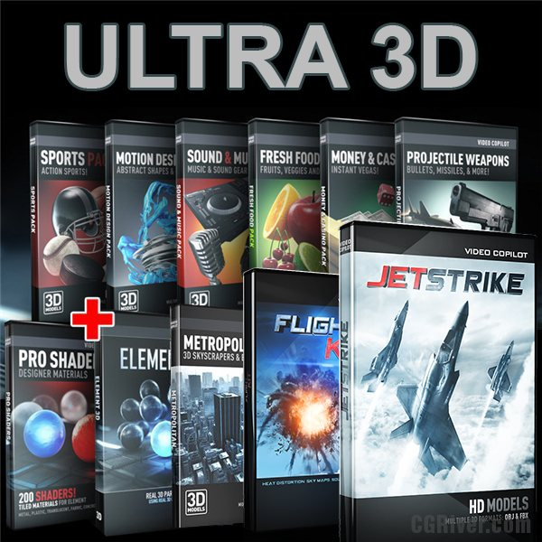 ULTRA 3D Bundle: Element 3D + Flight Kit + JetStrike and All Other 3D Model Packs from Video Copilot