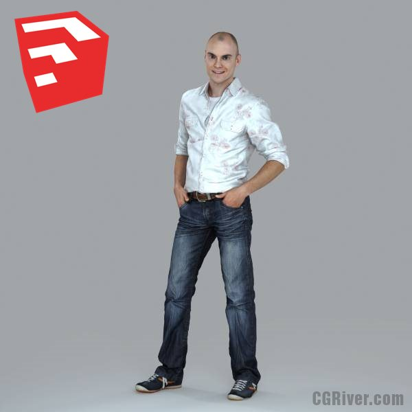 Young Male Character - CMan0010-HD2-O01P11S_SU - Ready-Posed 3D Human Model (Still)