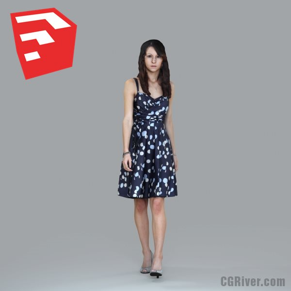 Young Female Character - CWom0020HD2-O03P03S_SU - Ready-Posed 3D Human Model (Still)