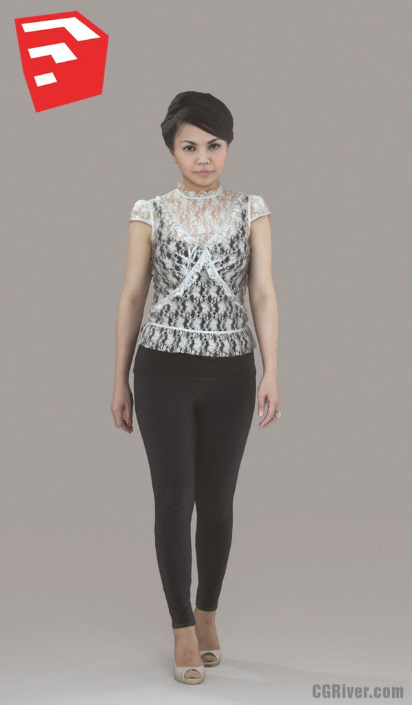 Young Female Character - CWom0012HD2-O01P05S_SU - Ready-Posed 3D Human Model (Still)