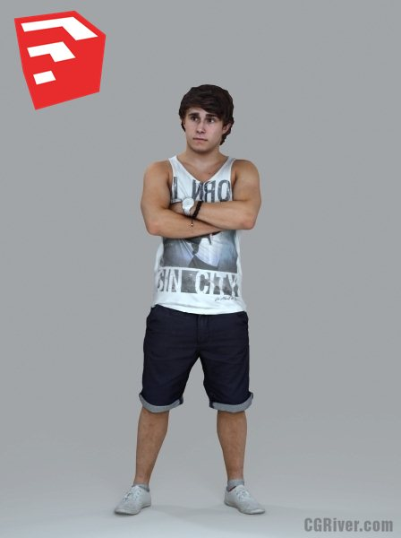 Young Male Character - CMan0020HD2O02P06S_SU - Ready-Posed 3D Human Model (Still)
