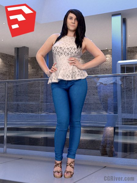 Young Female Character - CWom0019HD2O02P04S_SU - Ready-Posed 3D Human Model (Still)