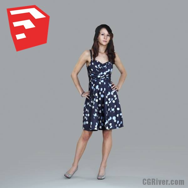 Young Female Character - CWom0020HD2-O03P06S_SU - Ready-Posed 3D Human Model (Still)