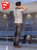 Young Male Character - CMan0018HD2SO02P08_SU - Ready-Posed 3D Human Model (Still)