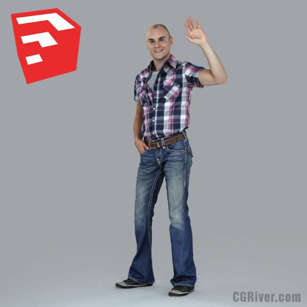 Young Male Character - CMan0010-HD2-O02P05S_SU - Ready-Posed 3D Human Model (Still)