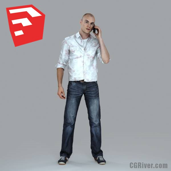 Young Male Character - CMan0010-HD2-O01P07S_SU - Ready-Posed 3D Human Model (Still)