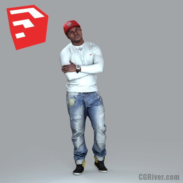Young Male Character - CMan0007-HD2-O02P07S_SU - Ready-Posed 3D Human Model (Still)