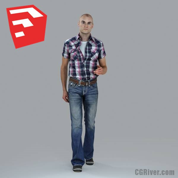 Young Male Character - CMan0010-HD2-O02P07S_SU - Ready-Posed 3D Human Model (Still)