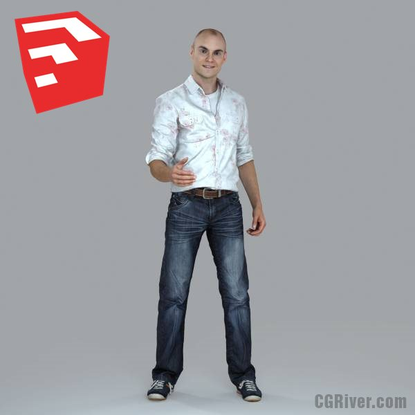 Young Male Character - CMan0010-HD2-O01P10S_SU - Ready-Posed 3D Human Model (Still)