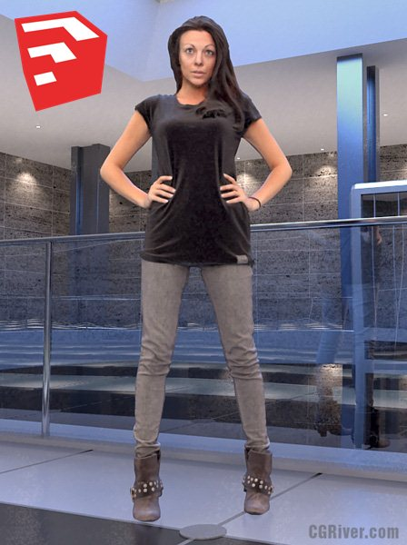 Young Female Character - BWom0008HD2O01P14S_SU - Ready-Posed 3D Human Model (Still)