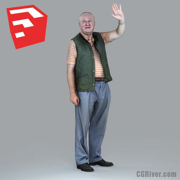 Elderly / Old Male Character - CMan0009-HD2-O02P05S_SU - Ready-Posed 3D Human Model (Still)