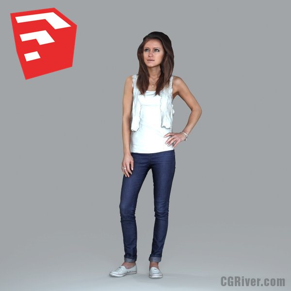 Young Female Character - CWom0010HD2-O01P05S_SU - Ready-Posed 3D Human Model (Still)