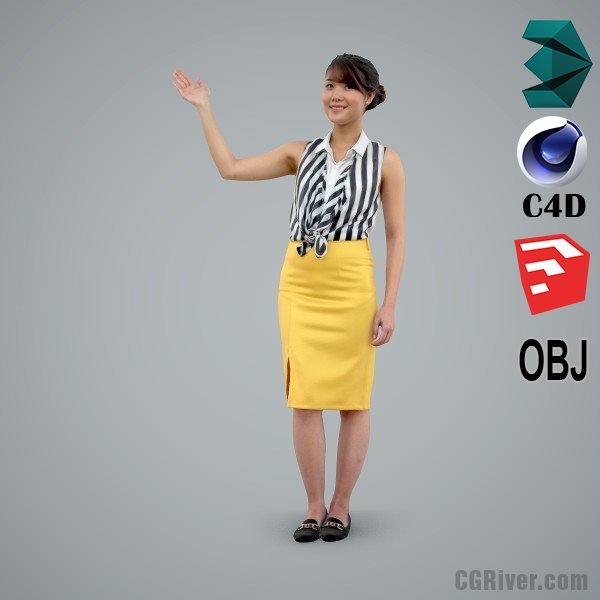 Asian Woman / Business Casual - BWom0100-HD2-O01P01-S - Ready-Posed 3D Human Model / Female Character (Still)