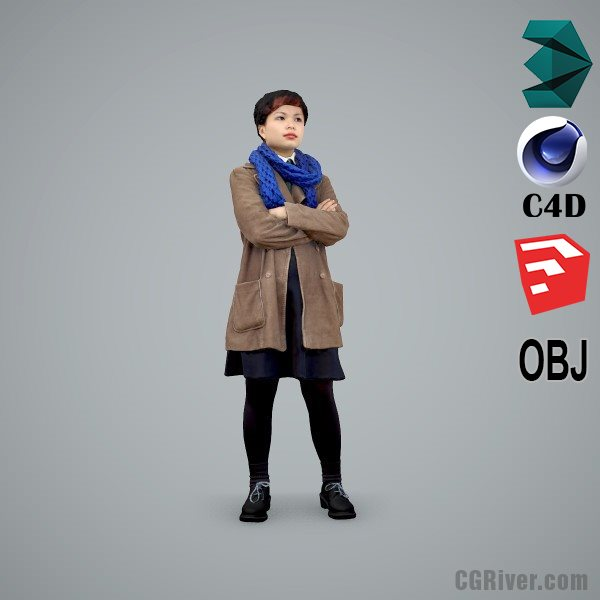 Asian Woman / Casual - CWom0104-HD2-O02P01-S - Ready-Posed 3D Human Model / Female Character (Still)