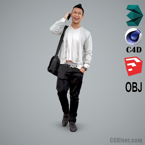 Asian Man / Casual - CMan0100-HD2-O03P01-S - Ready-Posed 3D Human Model / Male Character (Still)