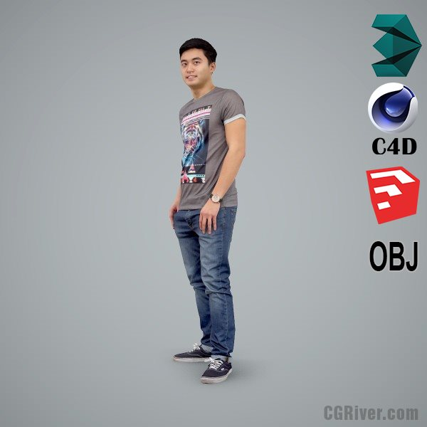 Asian Man / Casual - CMan0104-HD2-O03P01-S - Ready-Posed 3D Human Model / Male Character (Still)