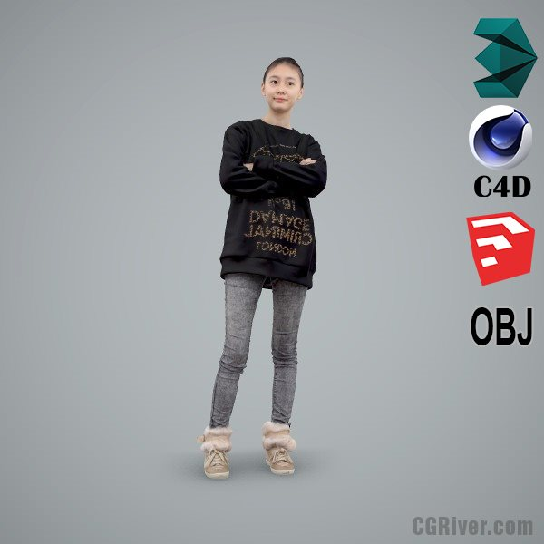 Asian Woman / Casual - CWom0103-HD2-O03P01-S - Ready-Posed 3D Human Model / Female Character (Still)