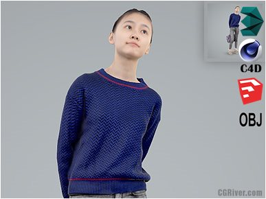 Asian Woman / Casual - CWom0103-HD2-O01P01-S - Ready-Posed 3D Human Model / Female Character (Still)