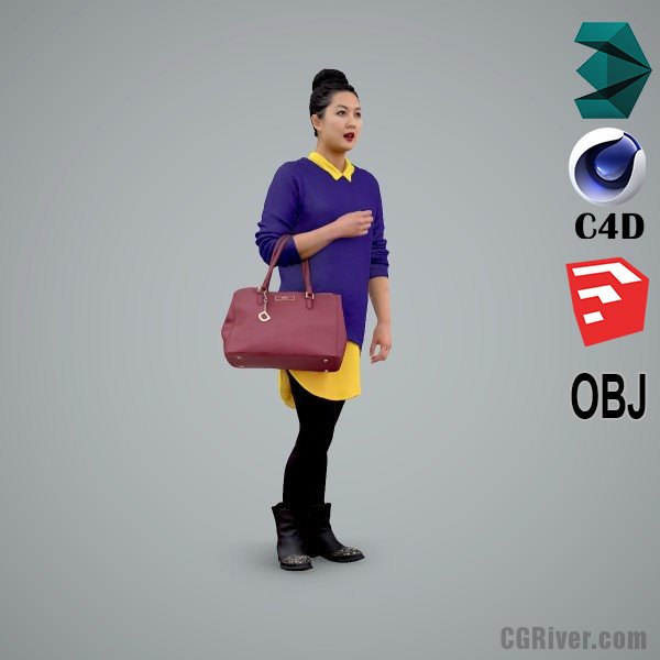 Asian Woman / Casual - CWom0101-HD2-O01P02-S - Ready-Posed 3D Human Model / Female Character (Still)