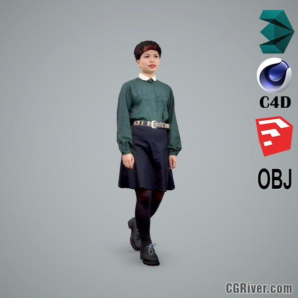 Asian Woman / Casual - CWom0104-HD2-O01P01-S - Ready-Posed 3D Human Model / Female Character (Still)