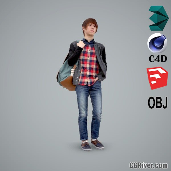 Asian Man / Casual - CMan0102-HD2-O03P01-S - Ready-Posed 3D Human Model / Male Character (Still)