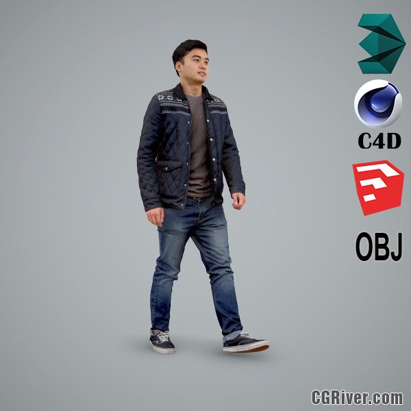 Asian Man / Casual - CMan0104-HD2-O02P01-S - Ready-Posed 3D Human Model / Male Character (Still)