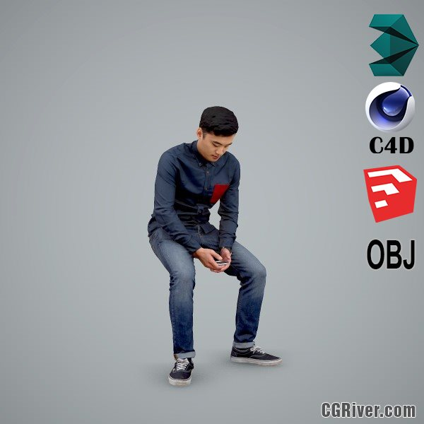 Asian Man / Casual - CMan0104-HD2-O01P01-S - Ready-Posed 3D Human Model / Male Character (Still)