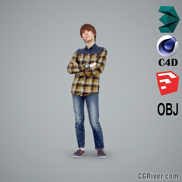 Asian Man / Casual - CMan0102-HD2-O02P01-S - Ready-Posed 3D Human Model / Male Character (Still)