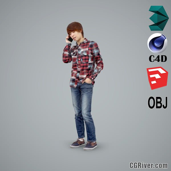 Asian Man / Casual - CMan0102-HD2-O01P01-S - Ready-Posed 3D Human Model / Male Character (Still)