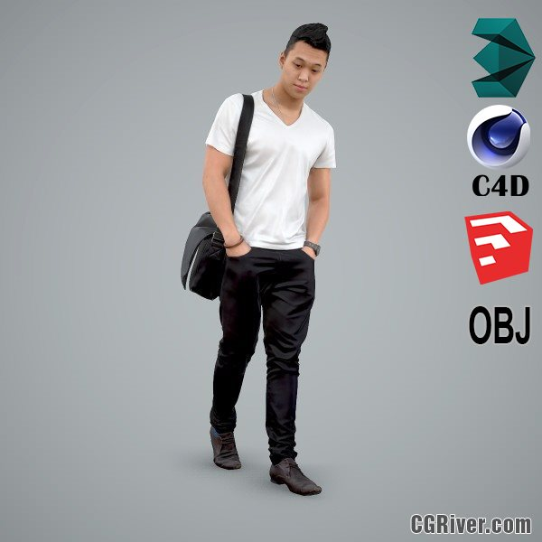 Asian Man / Casual - CMan0100-HD2-O01P01-S - Ready-Posed 3D Human Model / Male Character (Still)