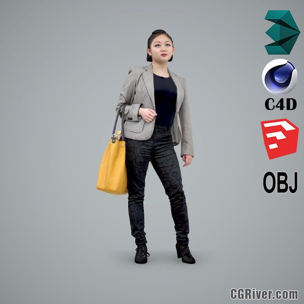 Asian Woman / Business Casual - BWom0102-HD2-O01P01-S - Ready-Posed 3D Human Model / Female Character (Still)