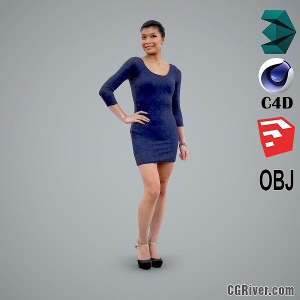 Asian Woman / Business Casual - CWom0105-HD2-O01P01-S - Ready-Posed 3D Human Model / Female Character (Still)