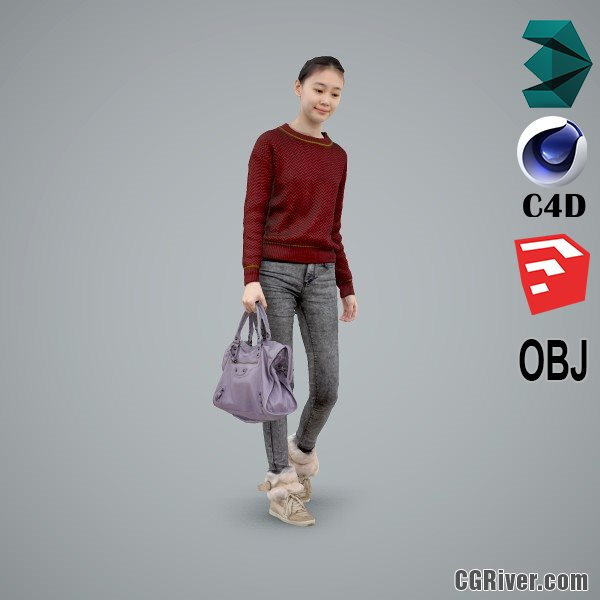 Asian Woman / Casual - CWom0103-HD2-O02P01-S - Ready-Posed 3D Human Model / Female Character (Still)