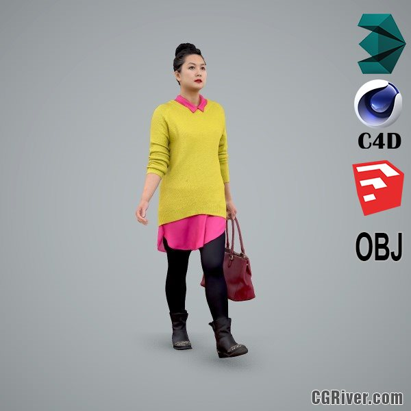 Asian Woman / Casual - CWom0101-HD2-O01P01-S - Ready-Posed 3D Human Model / Female Character (Still)