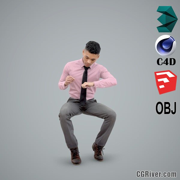 Asian Man / Business - BMan0101-HD2-O01P02-S - Ready-Posed 3D Human Model / Male Character (Still)