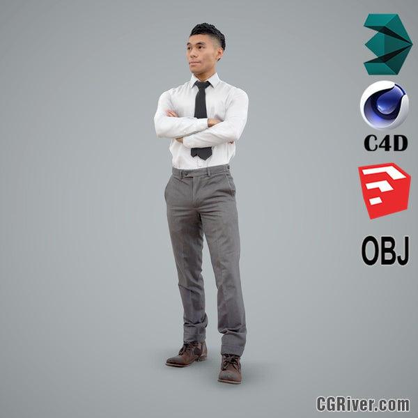 Asian Man / Business - BMan0101-HD2-O01P01-S - Ready-Posed 3D Human Model / Male Character (Still)