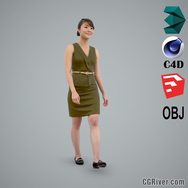 Asian Woman / Business Casual - BWom0100-HD2-O02P02-S - Ready-Posed 3D Human Model / Female Character (Still)