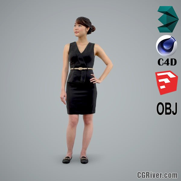 Asian Woman / Business Casual - BWom0100-HD2-O02P01-S - Ready-Posed 3D Human Model / Female Character (Still)