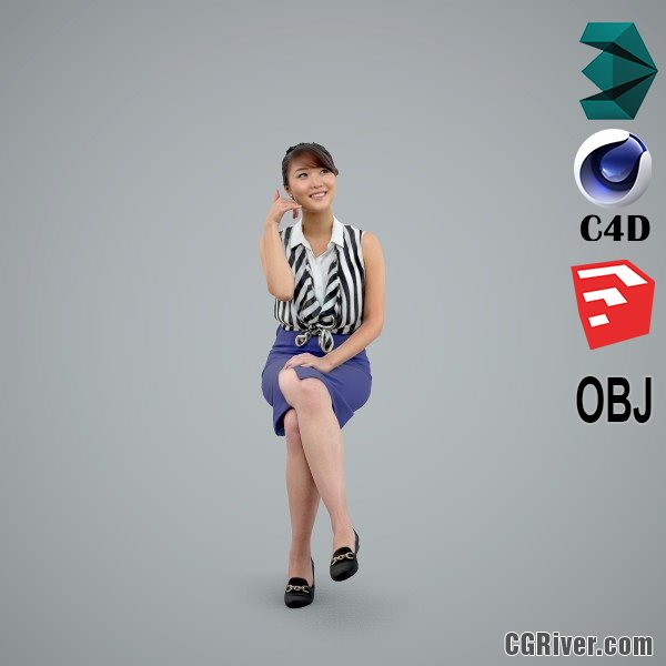 Asian Woman / Business Casual - BWom0100-HD2-O01P02-S - Ready-Posed 3D Human Model / Female Character (Still)