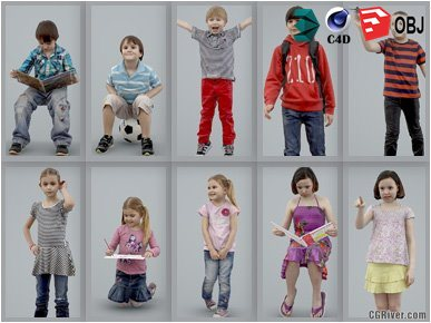 10 High Quality Still 3D Humans / (Kids & Children) People - MeMsS008HD2 - AXYZ Design Ready-Posed Model Pack