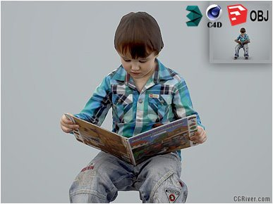 Boy / Child | Casual CBoy0002-HD2-O01P01-S - Ready-Posed 3D Human Model / Male Character (Kids / Children Still)