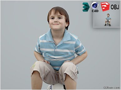 Boy / Child | Casual CBoy0002-HD2-O02P01-S - Ready-Posed 3D Human Model / Male Character (Kids / Children Still)