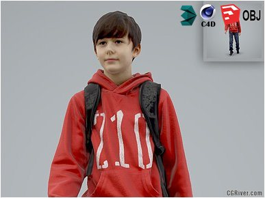 Boy / Child | Casual CBoy0004-HD2-O02P01-S - Ready-Posed 3D Human Model / Male Character (Kids / Children Still)
